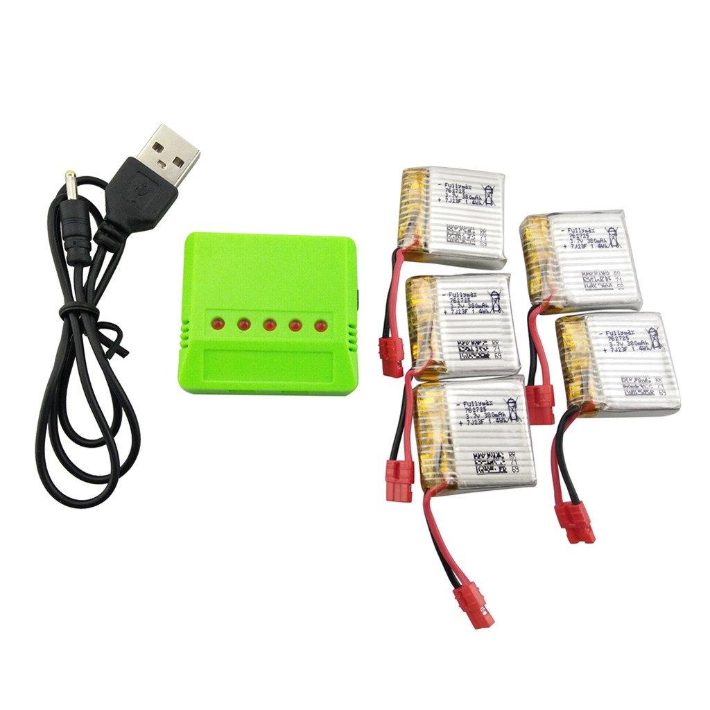Baterias Lipo (5) Y Cargador 3.7v 380mah Rc Sea Jump