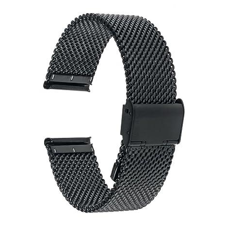 TRUMiRR 20mm Correa de Reloj Banda de Acero Inoxidable para Samsung Gear Sport SM-R600, Gear S2 Classic (SM-R732/R735), Garmin Vivoactive 3, Moto 360 ...