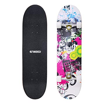 "ENKEEO 32"" Skateboard Completo Ruedas de PU Antichoque 85A, ABEC-9, diseño"