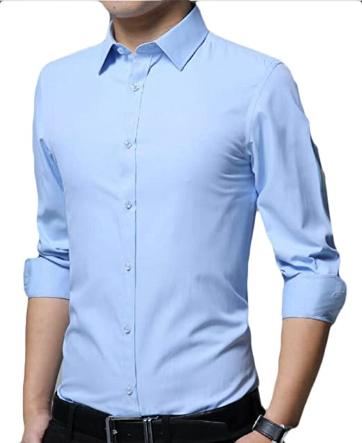 Fubotevic Men Slim Long Sleeve Solid Cotton Formal Button Down Dress Shirt