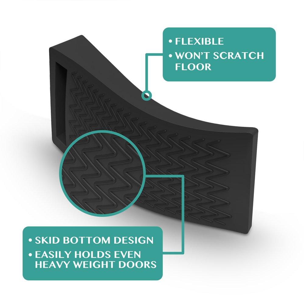 Smart Stackable Slip-Resistant Design White BearMoo Flexible Door Stop Wedge 4-Pack Door Stop Rubber Door Stops Work Well on All Surfaces