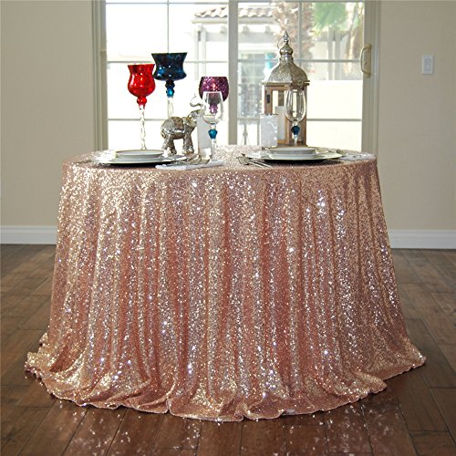 GFCC 90'' Sequin Tablecloth Rose Gold Christmas Table Cloth Banquet Cover Wedding Party Christmas Decoration Supplies -