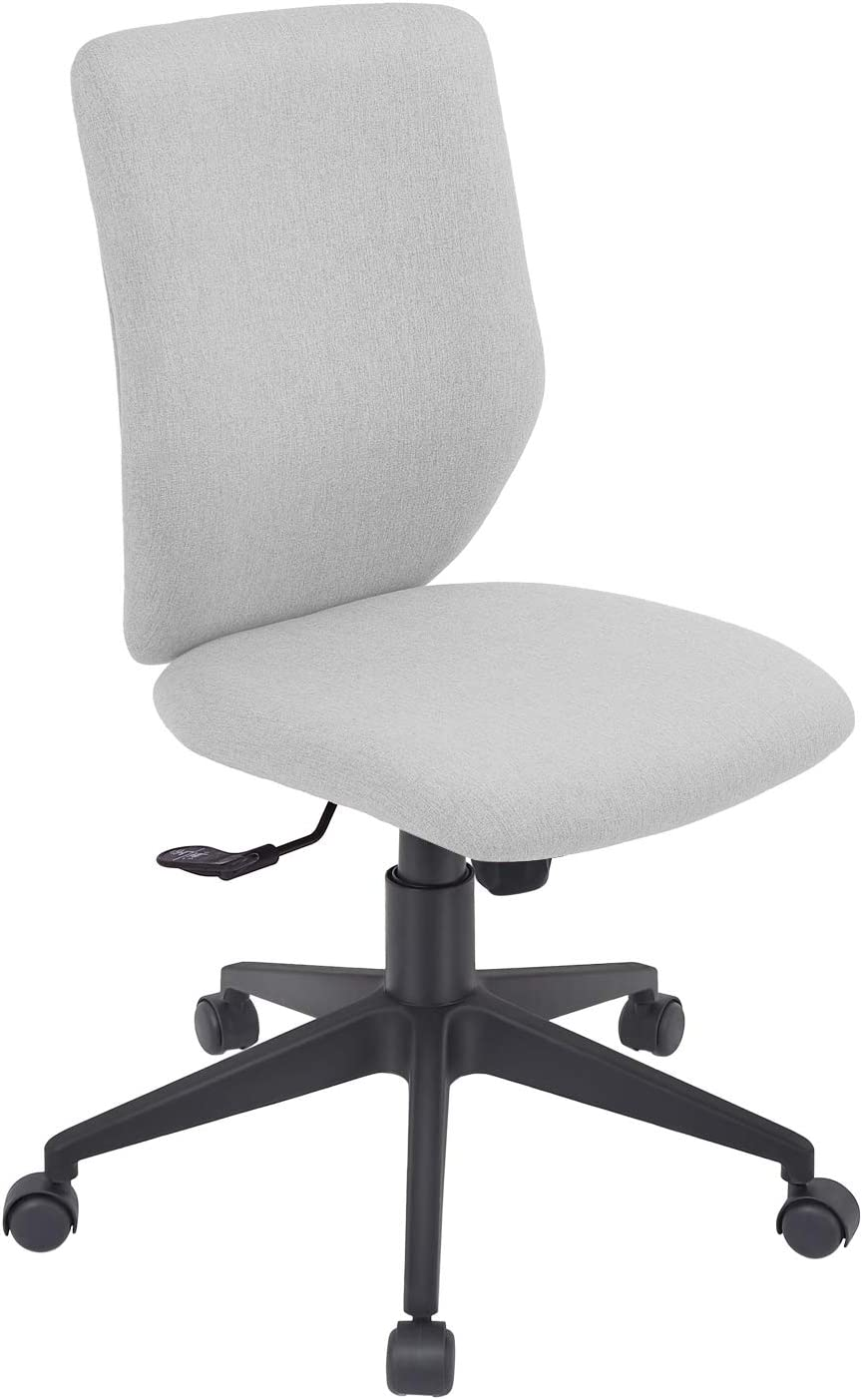 Bowthy Armless Office Chair Ergonomic Computer Task Desk Chair Without Arms Mid Back Fabric Swivel Chair (Light Grey)
