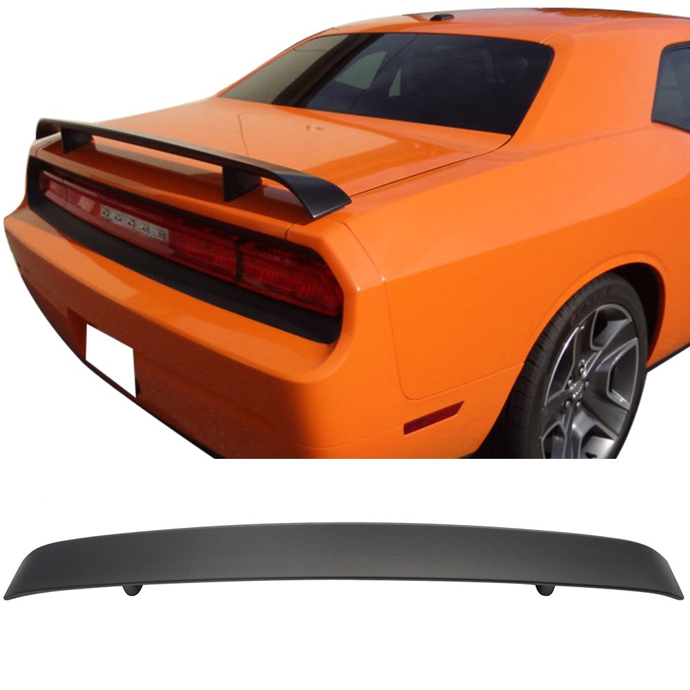Pre-painted Trunk Spoiler Fits 2008-2018 Dodge Challenger | OE Style Painted Matte Black ABS Rear Boot Deck Lid Roof Wing Replacement by IKON MOTORSPORTS | 2009 2010 2011 2012 2013