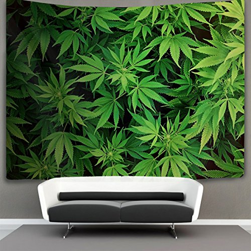 HOMESTORES Cannabis Leaf Green weed marijuana Wall Tapestry Hippie Art Tapestry Wall Hanging Home Decor Extra large tablecloths 60x90 inches For Bedroom Living Room Dorm -