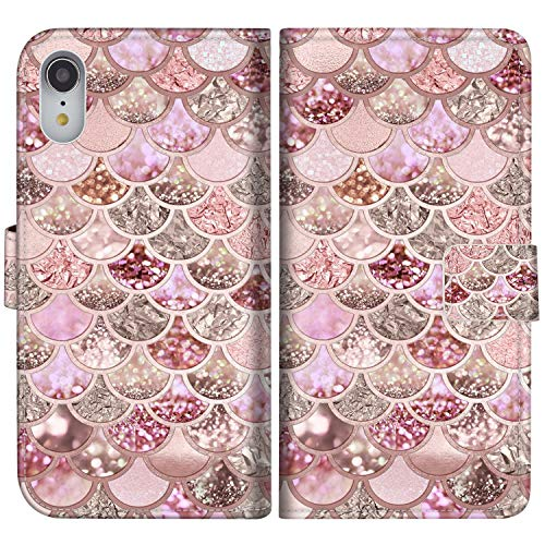 Sakuulo Pink Mermaid Scale Flip Wallet Case for iPhone XR PU Leather Case with Multi Credit Card Holders ID Slot Pockets Folio Magnetic Closure Cover for Apple iPhone Xr