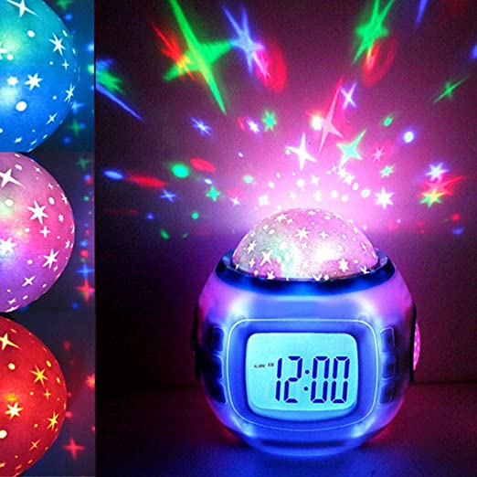 Música LED estrella cielo proyección romántica noche luces juguetes lámpara de mesa con despertador digital reloj