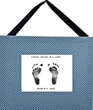 Baby Hand and Foot Print Kit and Decorative Canvas - The Perfect Baby Shower Gift for New Parents and for The Nursery (Blue and Grey Chevron Print)