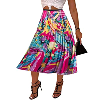 Adogirl Women Color Block Graffiti African Letter Print Pleated A Line Swing Maxi Long Skirt Midi Dress: Clothing