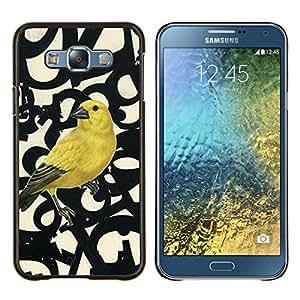KLONGSHOP // Cubierta de piel con cierre a presión Shell trasero duro de goma Protección Caso - Números de aves Primavera Resumen - Samsung Galaxy E7 E700 //