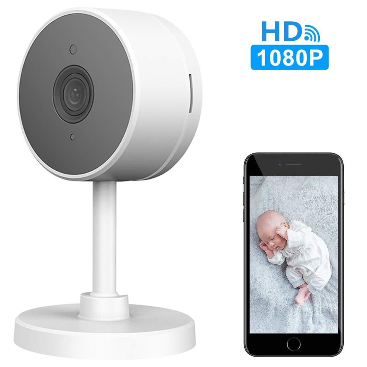 WiFi Home Security Surveillance Camera 1080P, Smart Baby Monitor Compatible with Alexa and Google Home, Motion Detection & Tracker, Night Vision