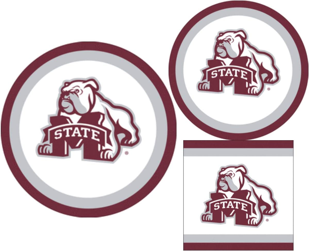 Mississippi State Bulldogs Party Supplies - Bundle Includes Paper Plates and Napkins for 10 People
