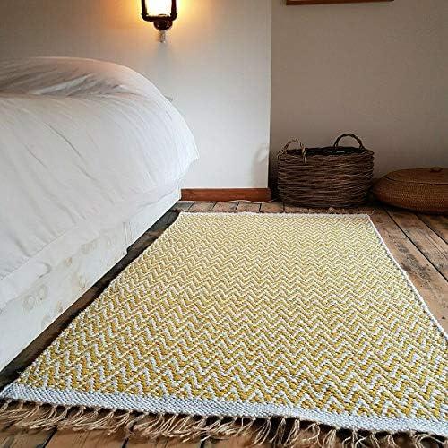 100% Pesado algodón Mostaza Marfil. 120 x 180 cm Gran Suave Reversible Moderno Alfombra: Amazon.es: Hogar