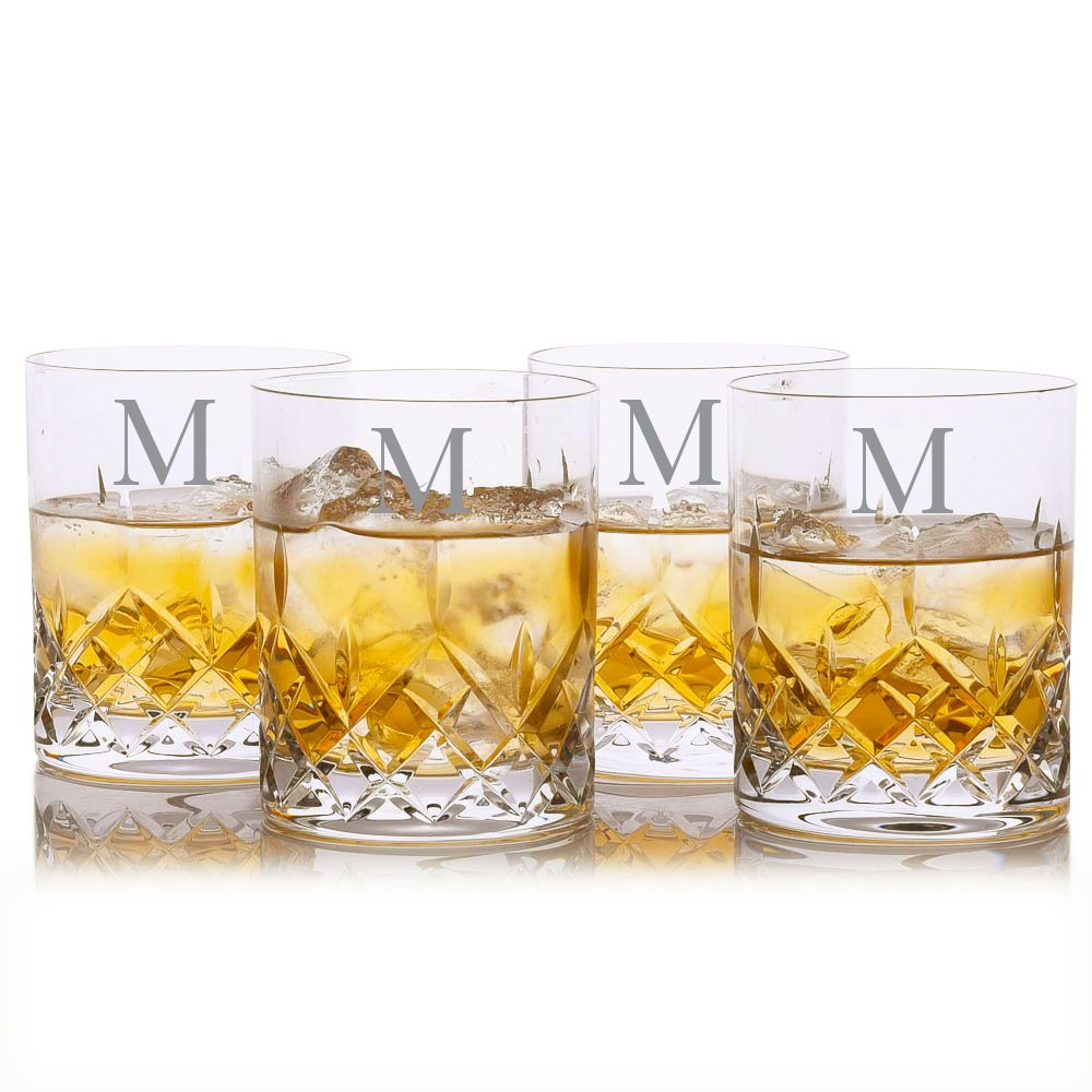 Custom Cut Crystal Whiskey Rocks Glass w/ Titanium 4pc. Set by Crystalize Engraved & Monogrammed (Custom 4 Piece Set)