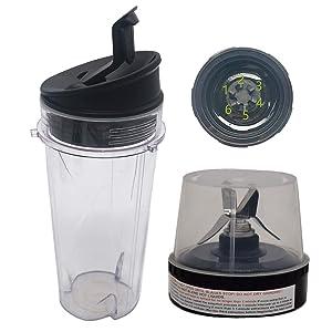 Joystar replacement 16-Ounce (16 oz.) Cup with Sip & Seal Lid with blade for Nutri Ninja BL203QBK/BL208QBK/BL207QBK/BL206QBK/BL209/BL201C/BL201/BL200 (3)