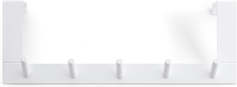 Rayen Colgador para Puertas 5 Ganchos, Acero Pintado, Blanco, 36x12,5x4 cm