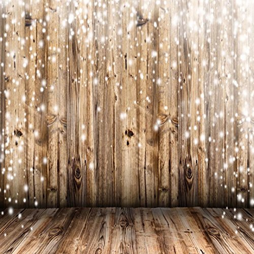 10x10 ft Light Brown Wood Floor and Wall Photo Backgrounds no Wrinkle Christmas Photography Backdrops for Wedding Seamless Backdrop