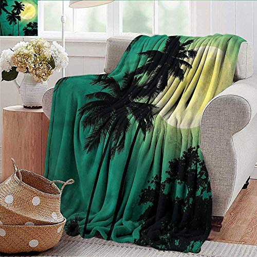 Xaviera Doherty Weighted Blanket for Kids Palm Tree,Exotic Dark Rainforest Soft Summer Cooling Lightweight Bed Blanket 50