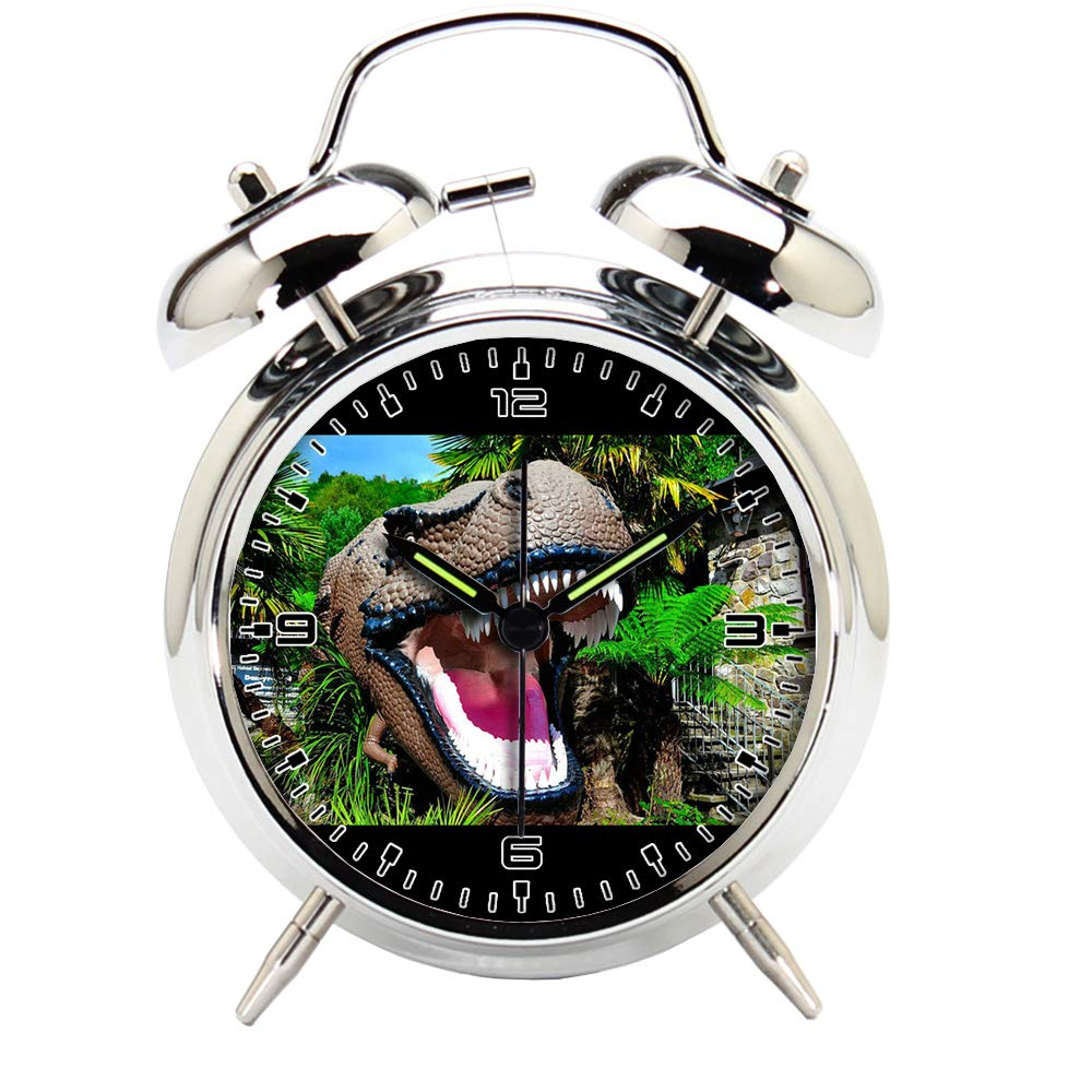 Children's Room Silver Dinosaur Silent Alarm Clock Twin Bell Mute Alarm Clock Quartz Analog Retro Bedside and Desk Clock with Nightlight-197.302_Animal, Dinosaur, Reptile, Jurassic, Monster, Predator