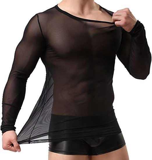 Men See Through Sheer T-Shirts Top Long Sleeve Muscle Undershirt Blouse Tee Vest