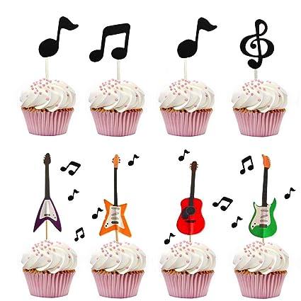 Decoración para cupcakes con diseño de guitarra, para ...
