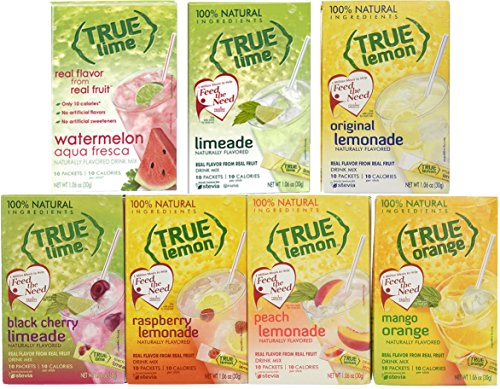 Lime Flavor - True Lime 7 flavor variety pack: WATERMELON AQUA FRESCA, LIMEADE, Original Lemonade, Peach, Black Cherry, Raspberry and Mango Orange. True Citrus Assorted Beverage Pack: (7 boxes).