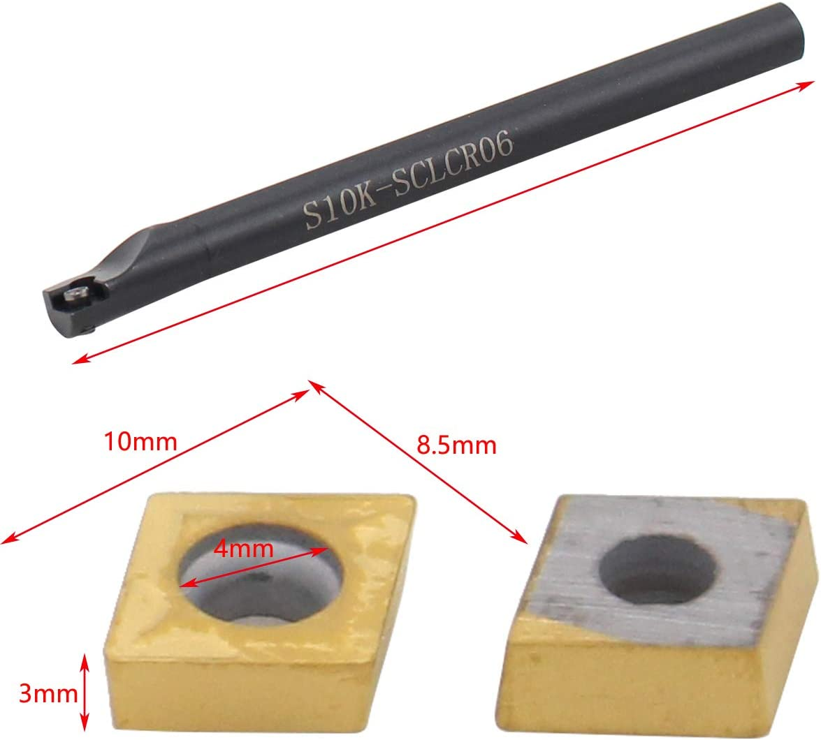 XtremeAmazing S10K-SCLCR06 S08K-SCLCR06 S07K-SCLCR06 S06K-SCLCR06 Holder Boring Bar Turning Tool with 10Pcs CCMT060204-HM Carbide Inserts and T8 Wrench Kit