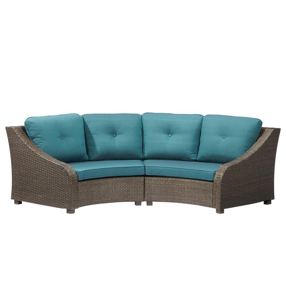 Amazon com hampton bay frs60557ab st 2 torquay wicker outdoor sofa with charleston cushions frs60557ab st electronics
