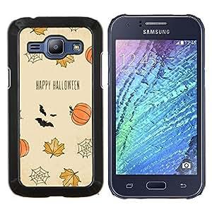 YiPhone /// Prima de resorte delgada de la cubierta del caso de Shell Armor - Hojas de otoño felices Bat calabaza - Samsung Galaxy J1 J100