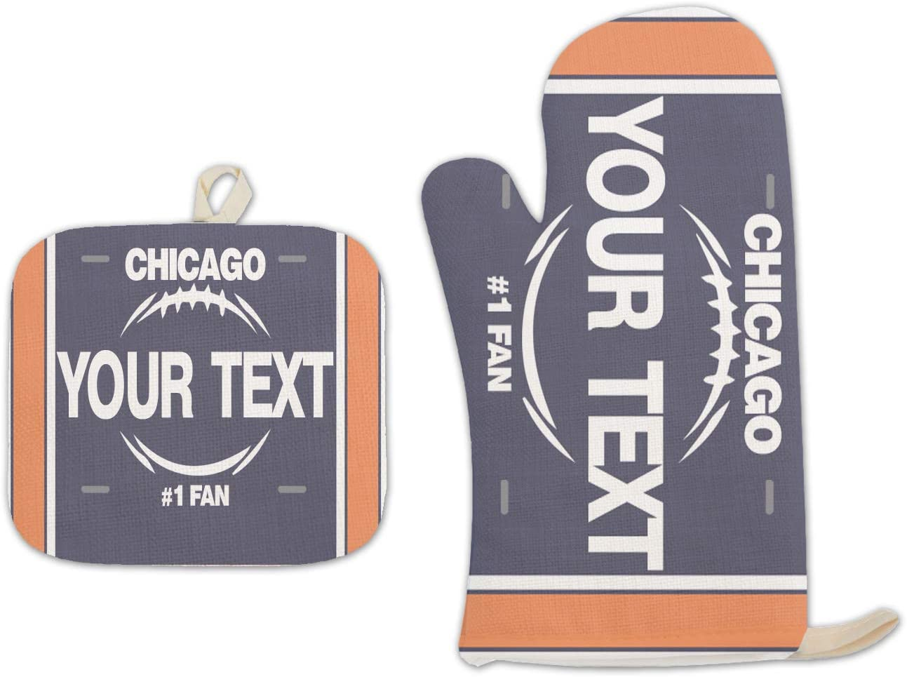 Bleu Reign BRGiftShop Personalized Custom Name Football Team Chicago Linen Oven Mitt and Potholder Set