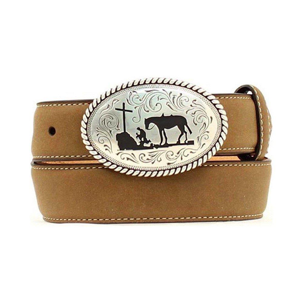 Nocona Boy's Cowboy Prayer Buckle Belt, Medium Brown Distressed, 18