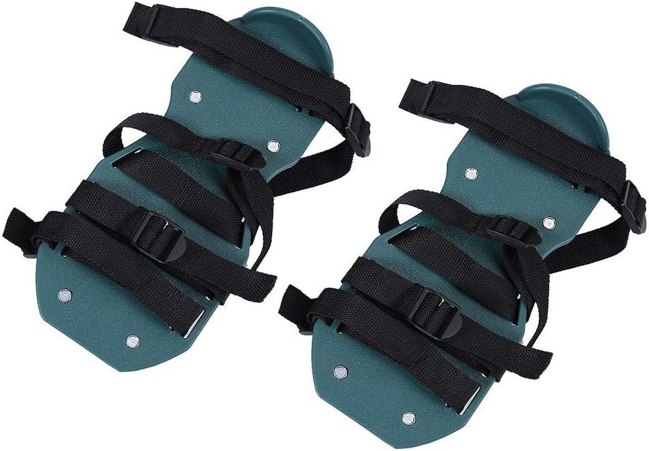 KSTE Césped aireador Zapatos 1 par de Sandalias aireador de césped, el Suelo Aflojamiento aireador los Zapatos claveteados, Herramienta de jardinería (3 y 4 Correas).