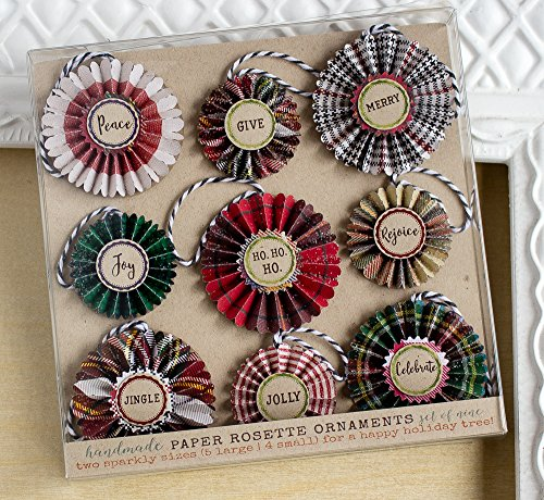 Paper Rosette Christmas Ornaments (Plaid Christmas Ornaments)