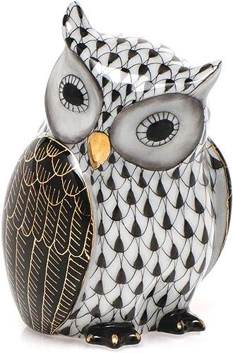Herend Mother Owl Porcelain Figurine Black Fishnet