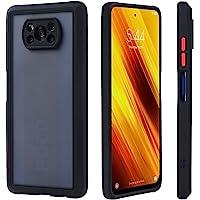 HaroKing Funda Uso Rudo para Xiaomi Poco X3 NFC, Protector de cámara, Traslúcido Esmerilado Trasero, Negro (Negro)