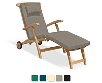 Serenity Teak Steamer Chair With Wheels And Cushion   Jati Brand, Quality U0026  Value (