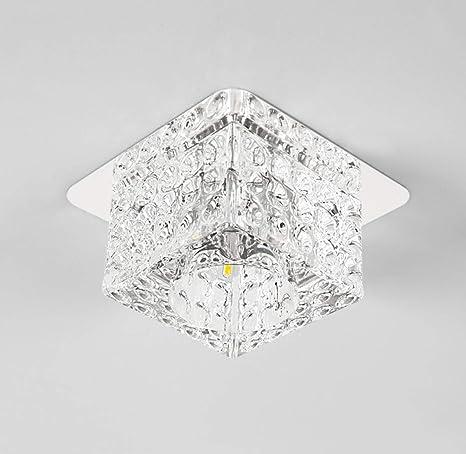 Lámpara de techo de cristal moderna de acero inoxidable con ...