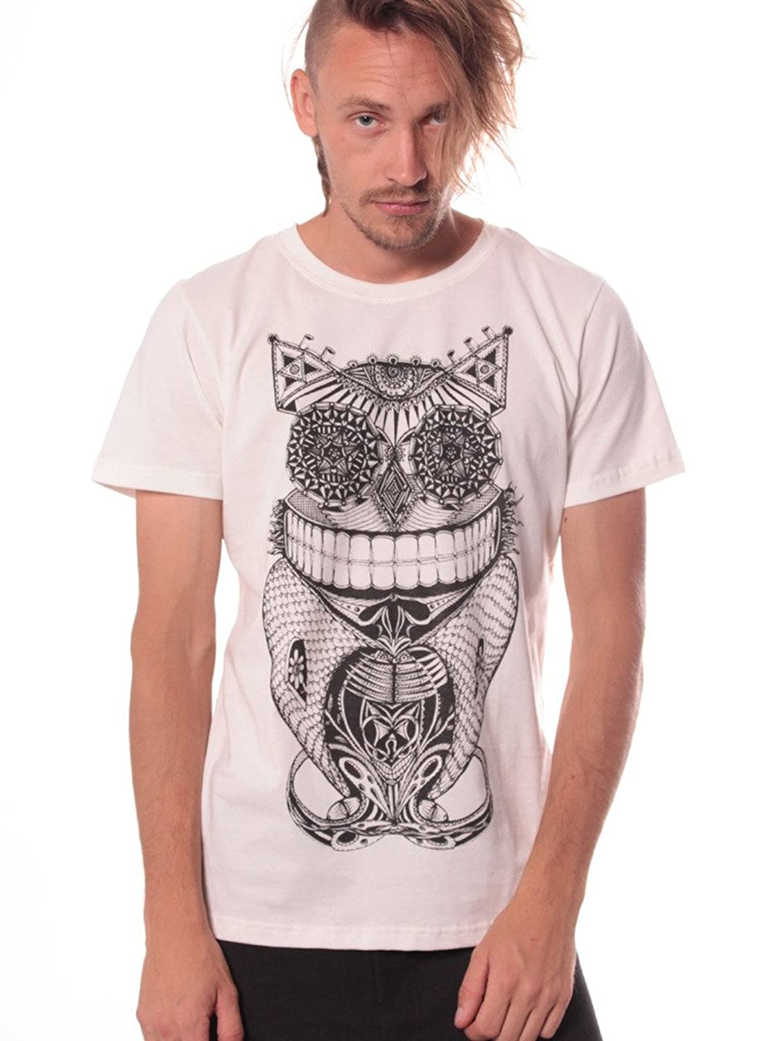 Men's Steampunk Owl T Shirt - 100% Cotton Tee Regular Fit - Street Wear Clothing