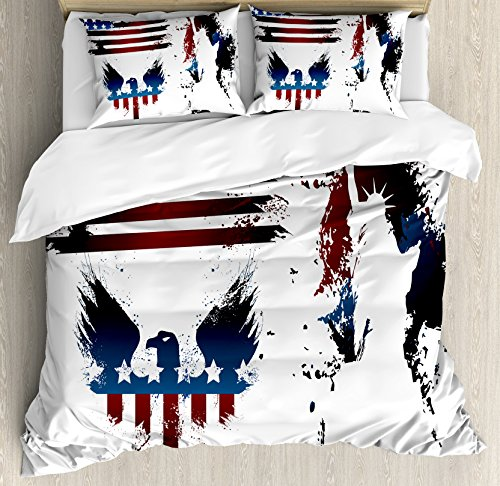 Ambesonne American Flag Duvet Cover Set Queen Size, Set with Bald Eagle and Stripes Stars of Liberty Grunge Retro, Decorative 3 Piece Bedding Set with 2 Pillow Shams, Maroon Navy ()