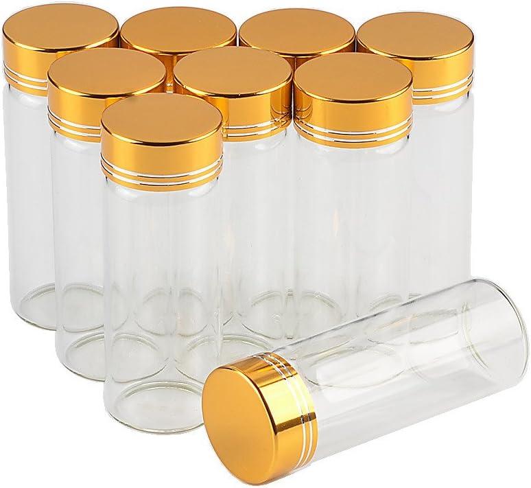12units Empty Mini Jars Glass Bottle with Aluminium Gold or Silver Color Screw Cap 40ml Sand Liquid Glycyrrhiza Food Grade Safety Bottles Jars (12, 40ML-Golden Lid)