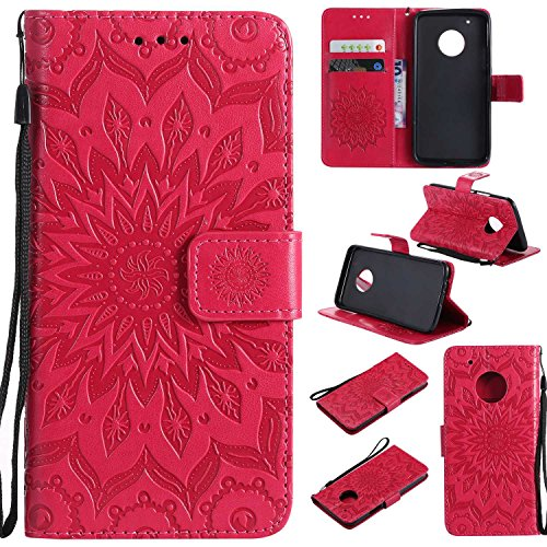 Moto G5 Plus Case,THRION Elegant Retro PU Leather Flip Wallet Cover with Card Slot Holder and Magnetic Closure for Moto G5 Plus, Red