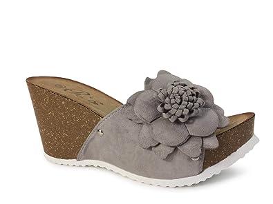 Schuhtraum Damen Sandalen Pantoletten Keilabsatz Blumen Sandaletten Wedge Plateau ST555 (40, Grau)