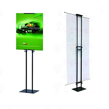 amazon com huazi sign stand for board sign and banner height adjustable up to 75inches popular poster holder stand black color double sided