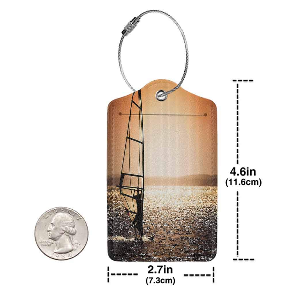 Decorative luggage tag Coastal Decor Windsurfer Silhouette Sunset Water Sports Summertime Fun Holiday Suitable for travel Dark Orange Black White W2.7 x L4.6