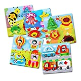 5 Pack Wooden Puzzles for Toddlers Kids Girls Boys Babies - Educational Puzzle Toys Set