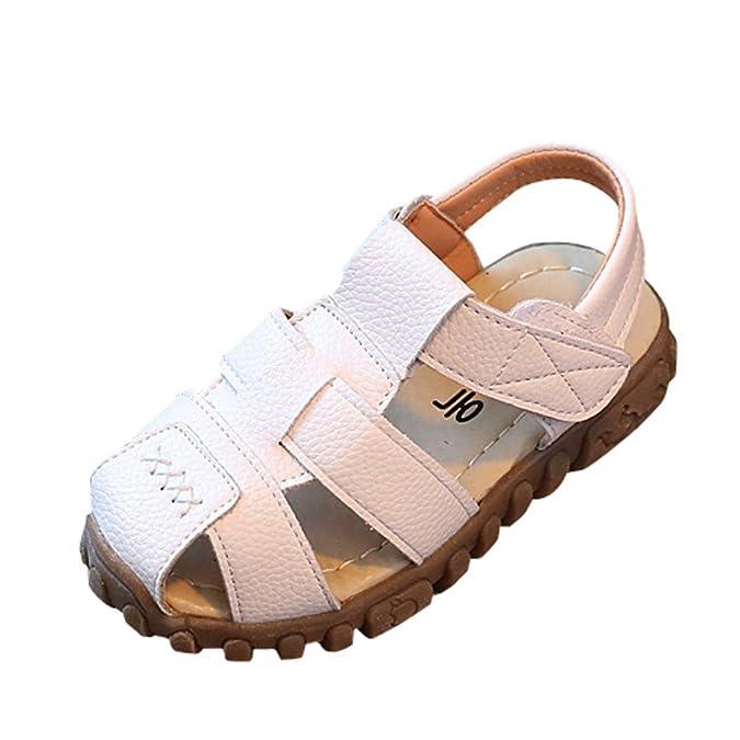 Topgrowth Sandali Bambino Ragazzo Ragazza Cuoio Suola Morbida Sneaker Casual Spiaggia Chiusa Sandali Unisex per bambini (25, Bianco)