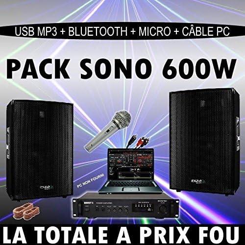 Pack DJ 600w amplificador + altavoces + câble + micrófono: Amazon ...