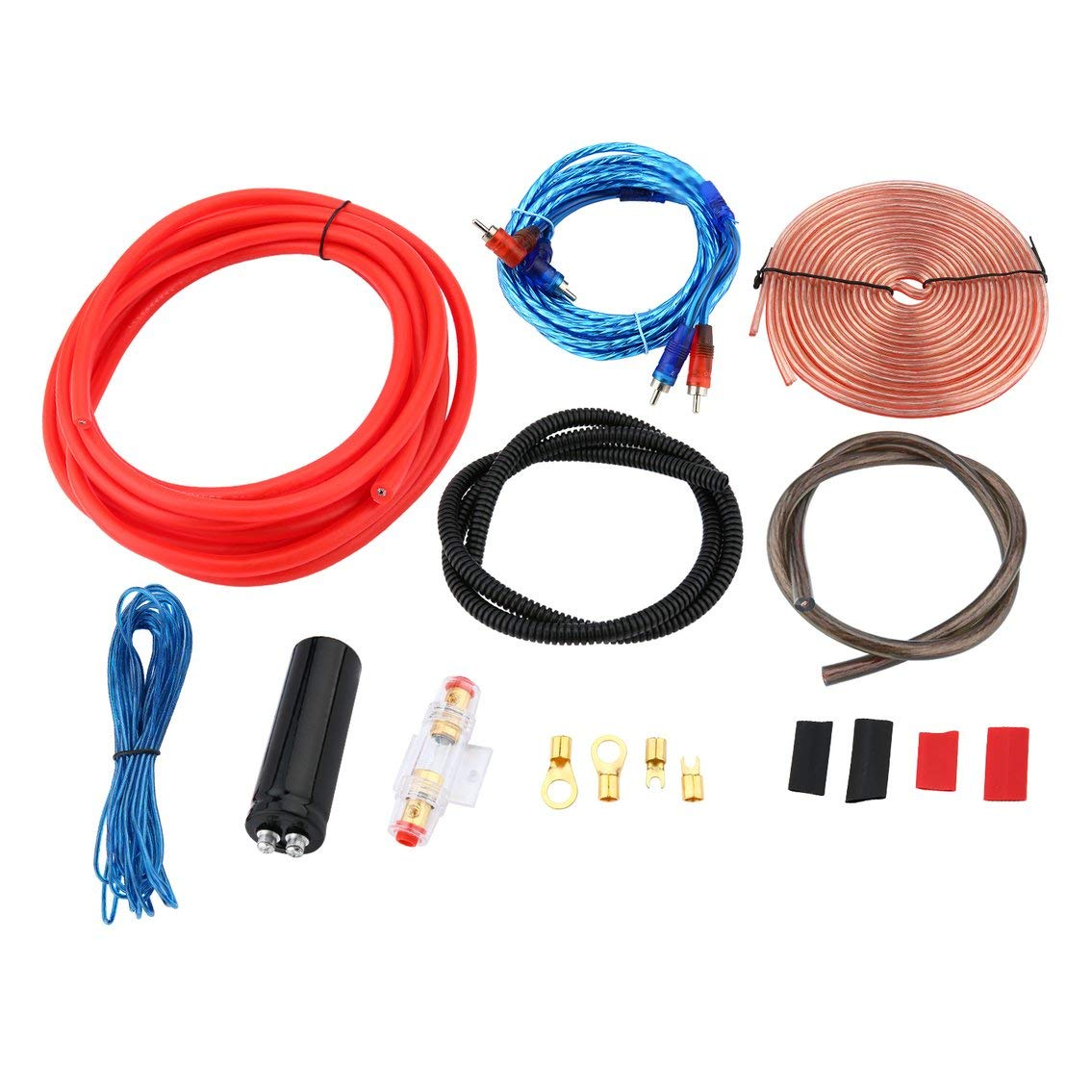 Mazur Professional 2300W 4 Gauge Amp Kit Amplifier Install Wiring & 2.5 Farad Digital Capacitor Installation Wiring Wire(Colorful)