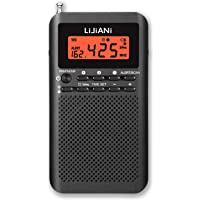NOAA Weather AM FM Radio Portable Battery Operated by 2 AA Batteries with Stereo Earphone, LCD Display Digital Alarm…