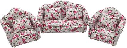 2 PCS 1//12 Flower Single Sofa Cushions Couch Dollhouse Miniature Furniture